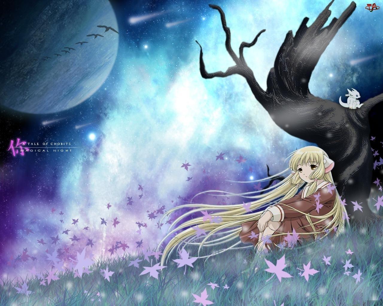 dziewczyna, kwiaty, niebo, Chobits, trawa, drzewo, ptaki