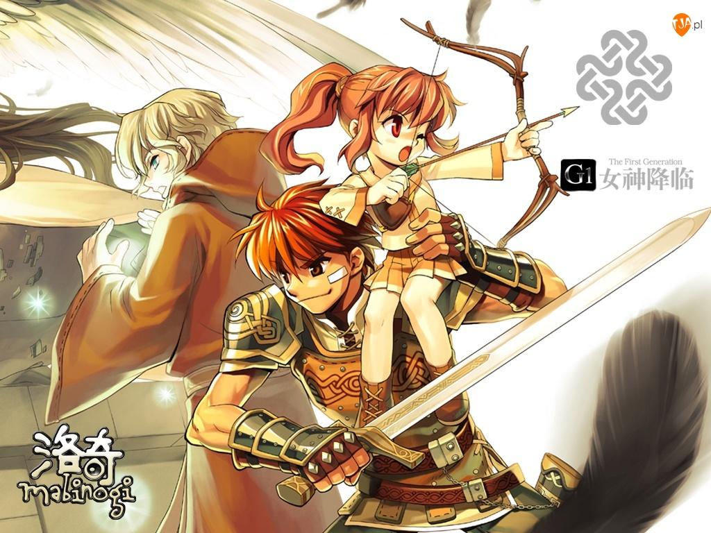 postacie, Mabinogi, miecz, mężczyzna, łuk, kobieta