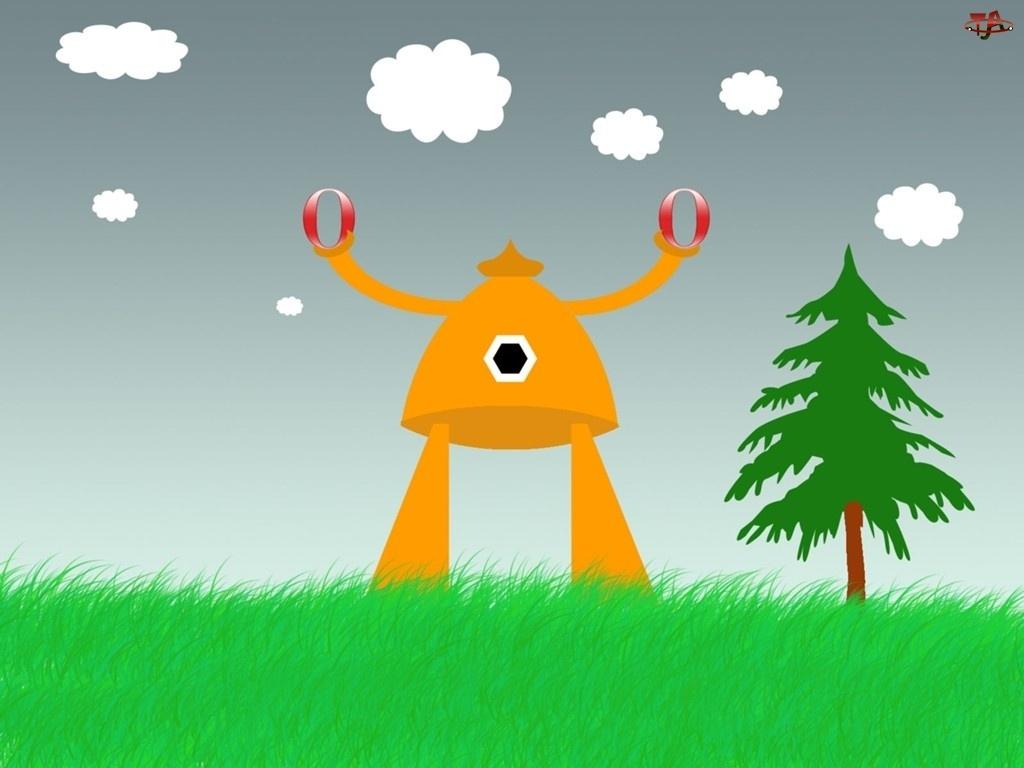 łąka, chmury, postać, Opera, trawa, drzewo, robot
