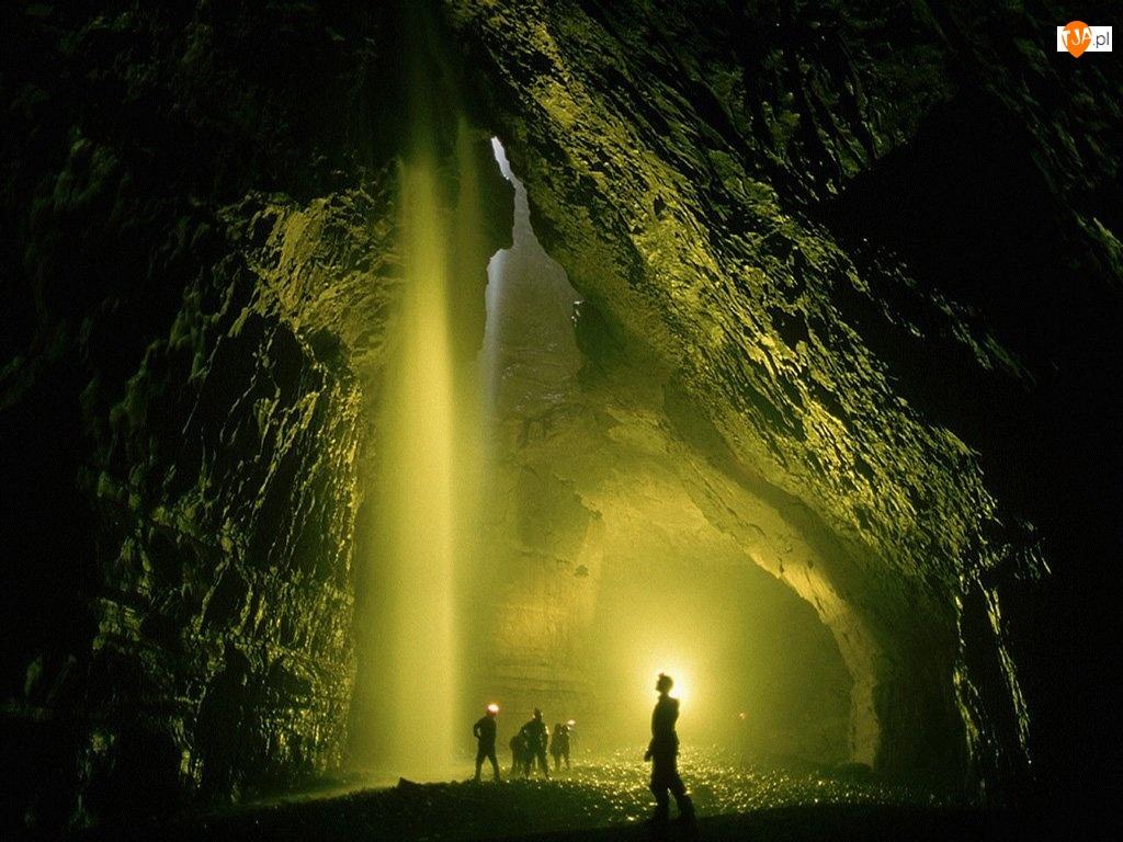 Jaskinia, Słońca, Skały, Promienie