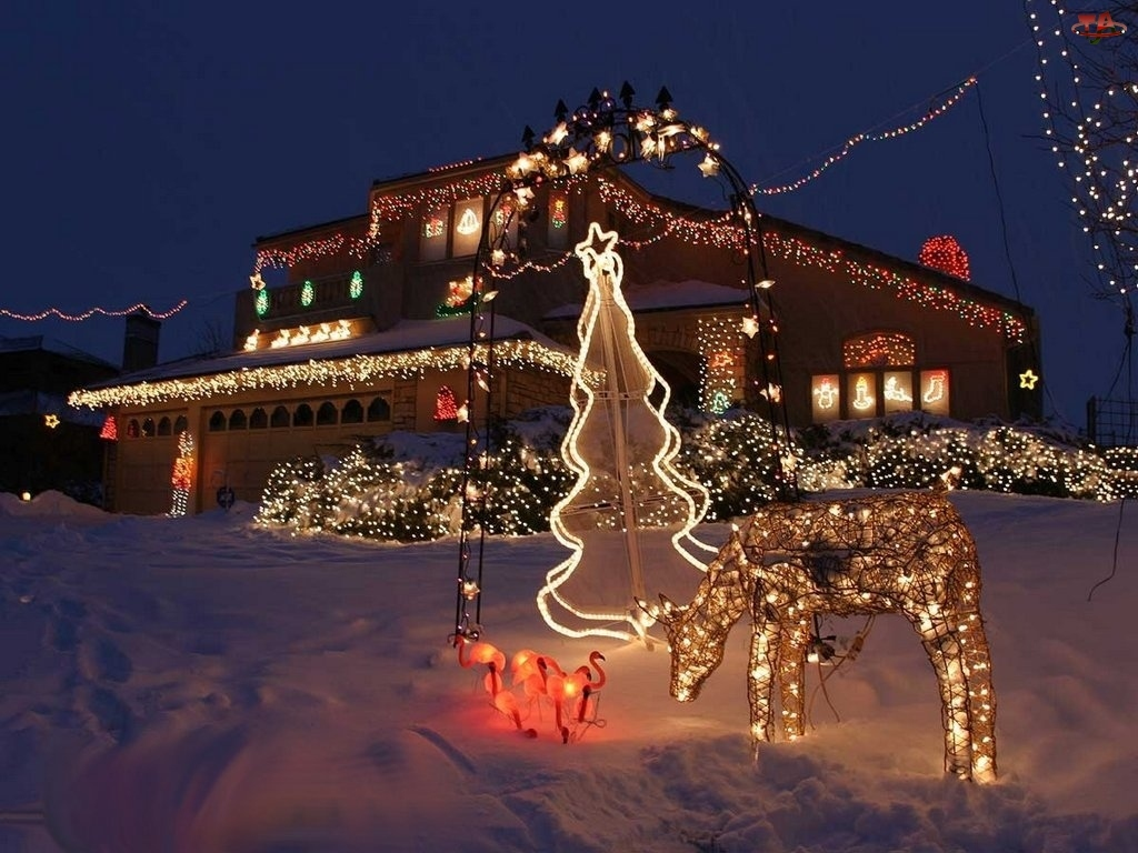 domek, Boże Narodzenie, lampki