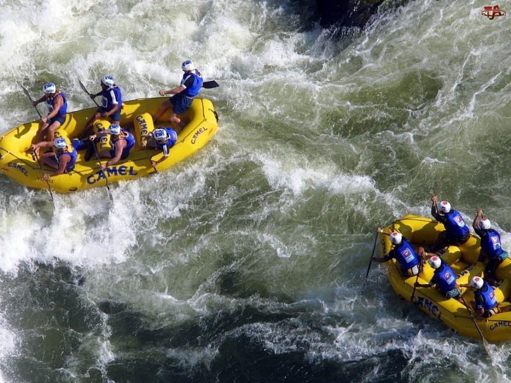rzeka, pontony, Rafting, camel, spływ, wiosła
