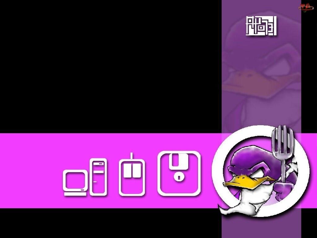 widelec, kaczka, myszka, komputer, Linux, dyskietka, pingwin