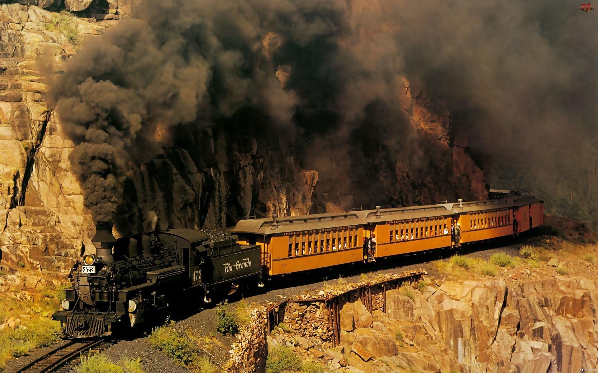 Pociąg, Węgiel, Czarny, Dym