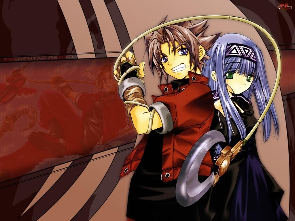 chłopak, Erementar Gerad, dziewczynka, broń, sznurek