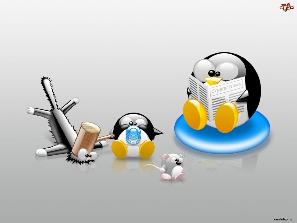kot, smoczek, Linux, młotek, pingwin, mysz