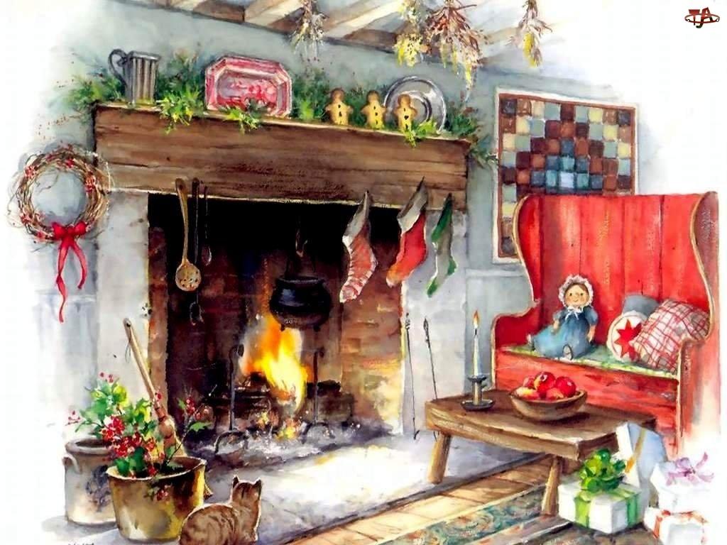 kotek, Boże Narodzenie, kominek