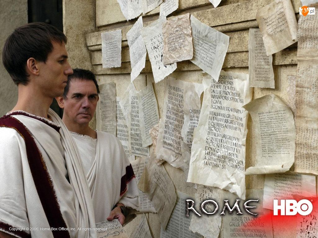 Rome, rzymianie, kartki, ściana