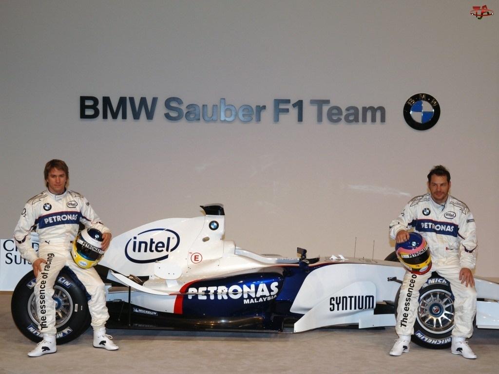 koła, opony, BMW Sauber, Formuła 1, spojler, bolid, kask