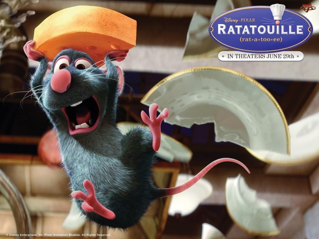 Ratatuj, talerz, mysz, zbity