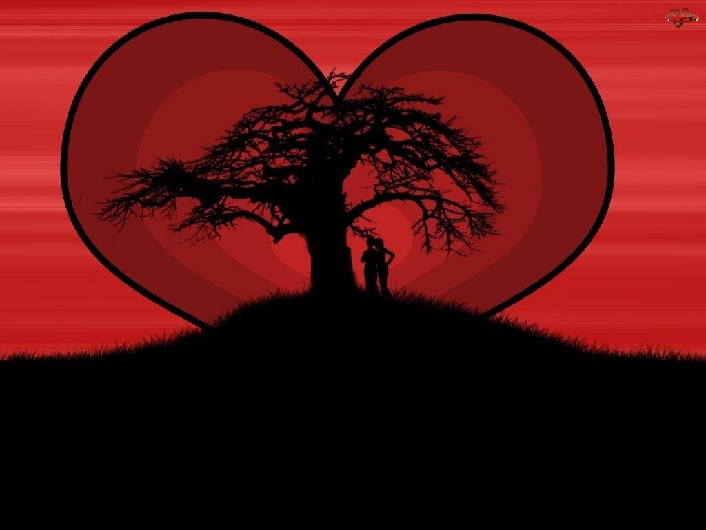 Miłość, Czerwone, Niebo, Serce, Zakochani