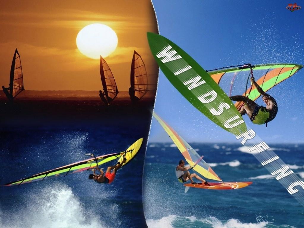 żagiel , fala, Windsurfing, Zachód Słońca, deska, morze