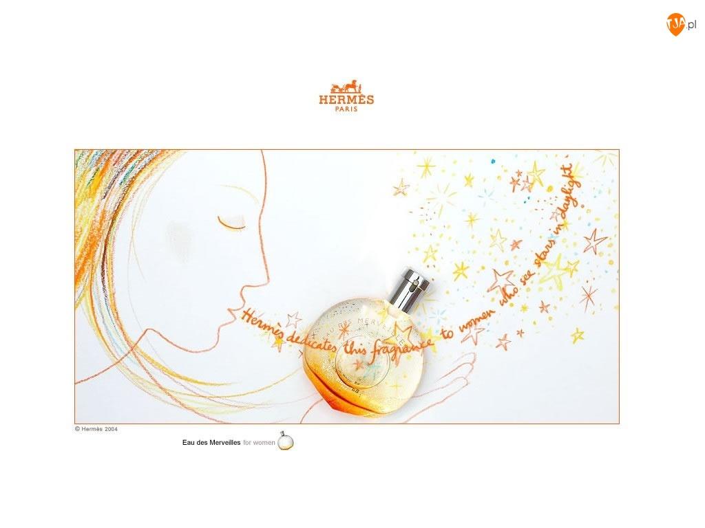 perfumy, Hermes, twarz, rysunek, flakon