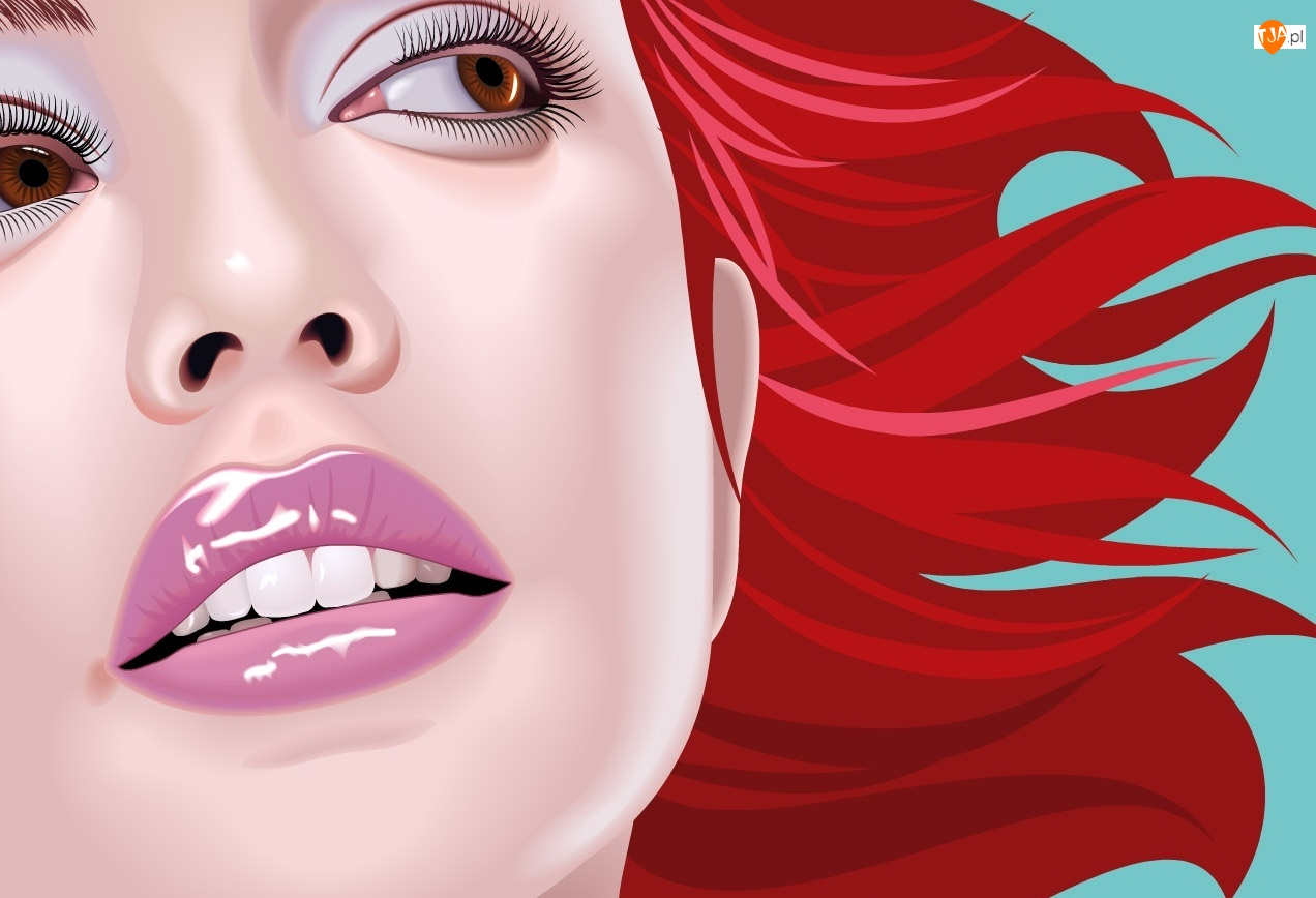 Kobieta, Grafika, Czerwone, Włosy