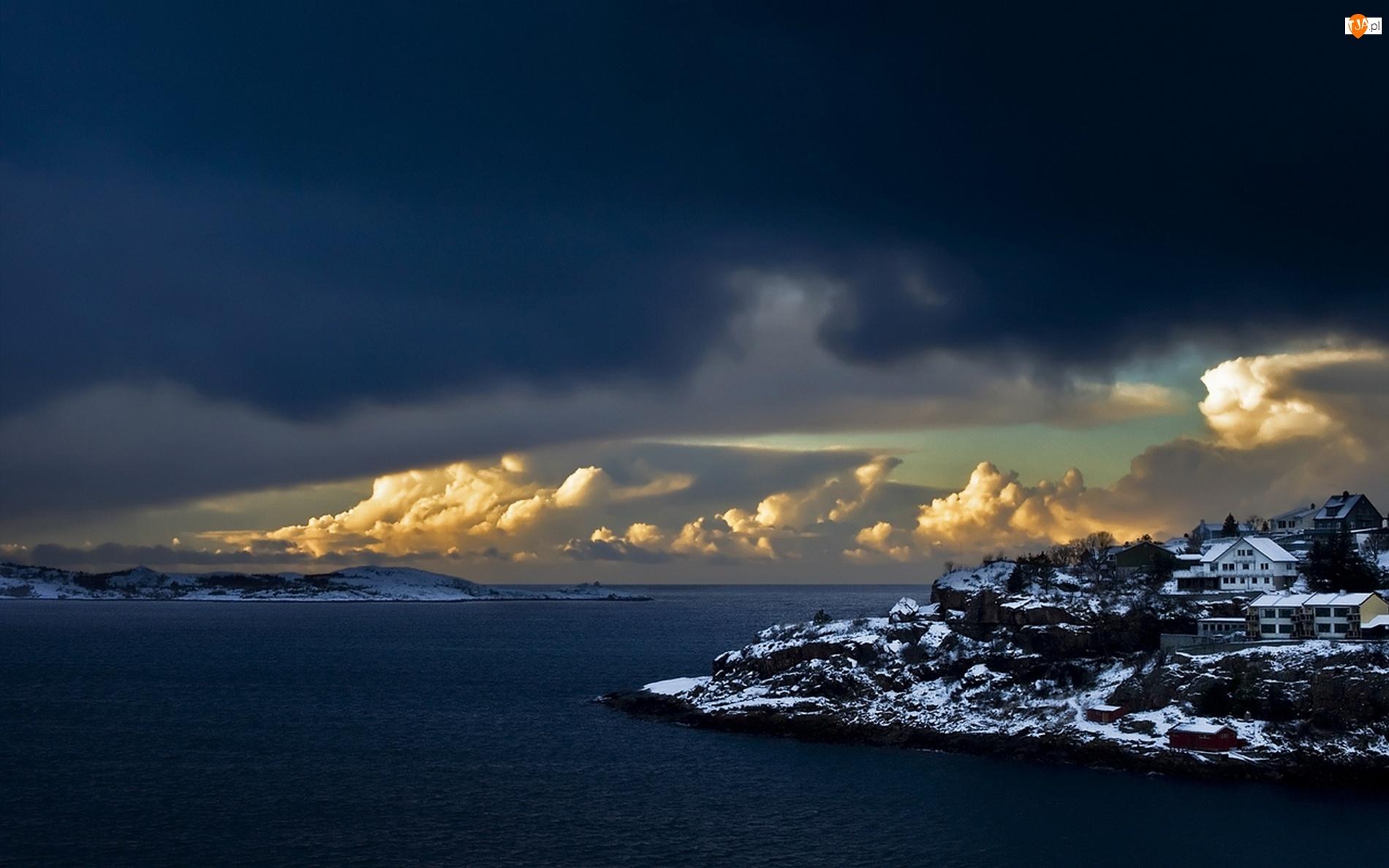 Norwegia, Domy, Morze, Wyspa