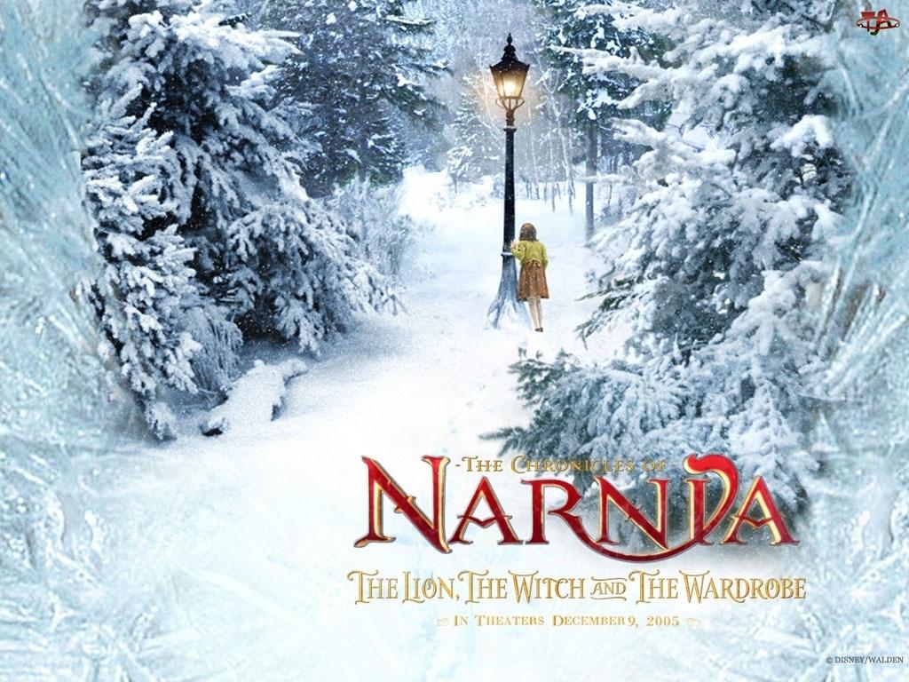 dziewczynka, zima, The Chronicles Of Narnia, napis, latarnia, choinki