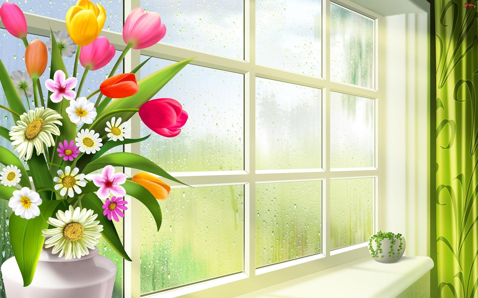 Zielona, Parapet, Bukiet, Grafika 2D, Kwiatków, Roślinka