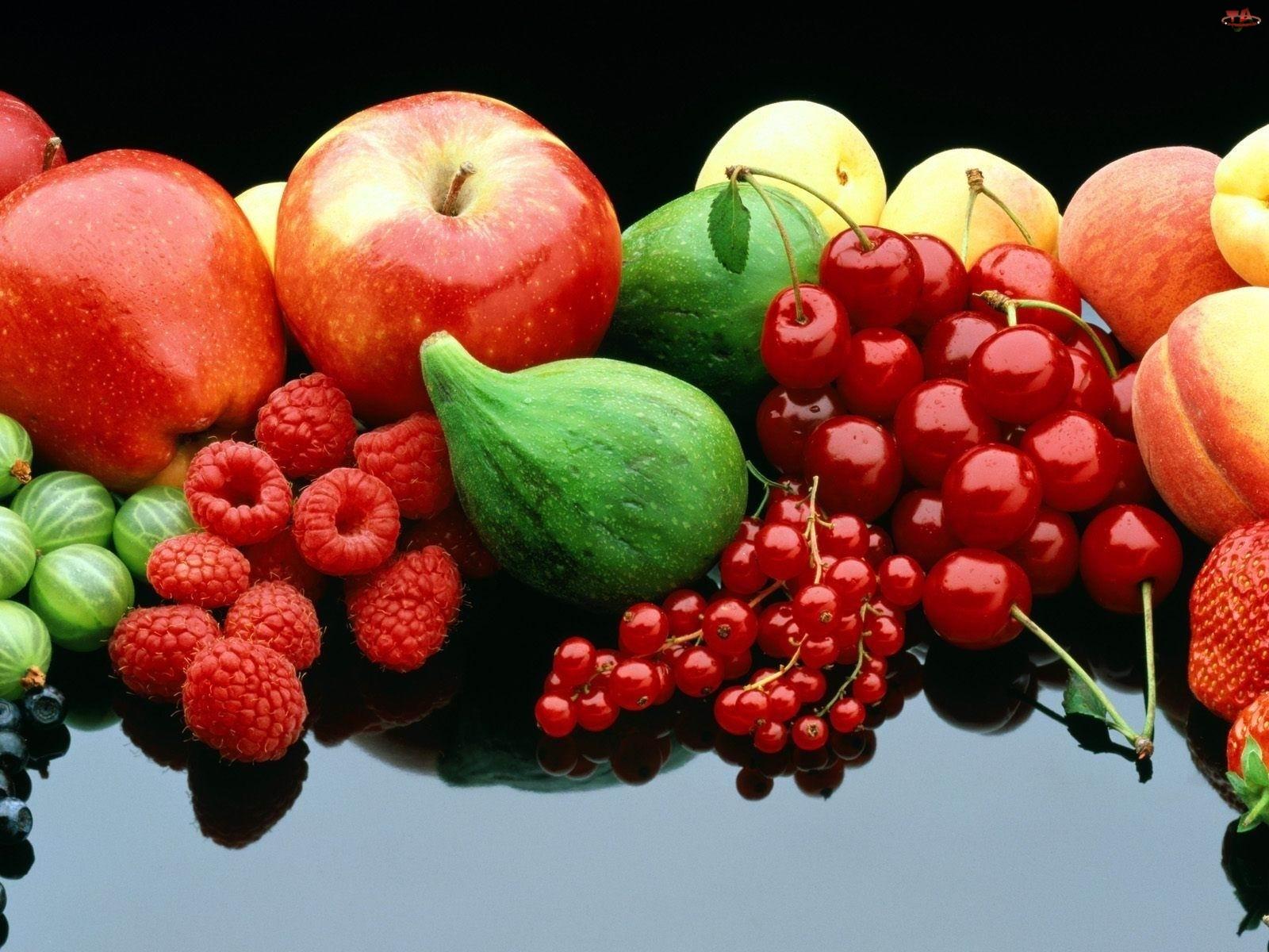 Wiśnie, Różne, Jabłka, Owoce, Maliny