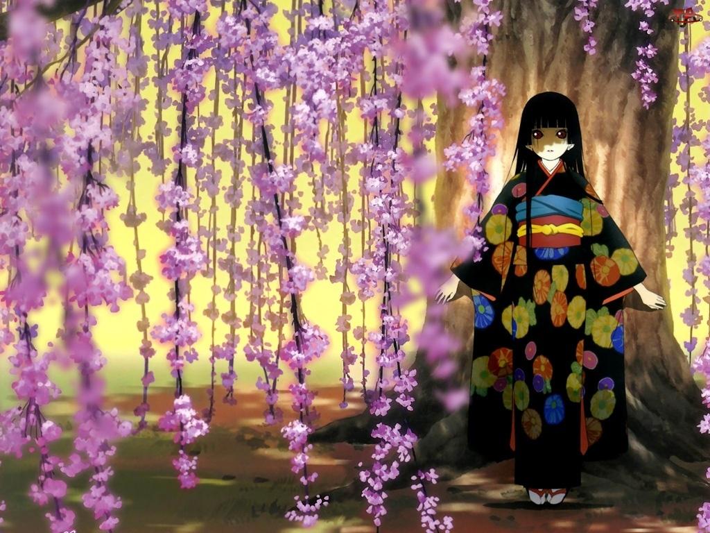 kwiaty, Jigoku Shoujo, kobieta