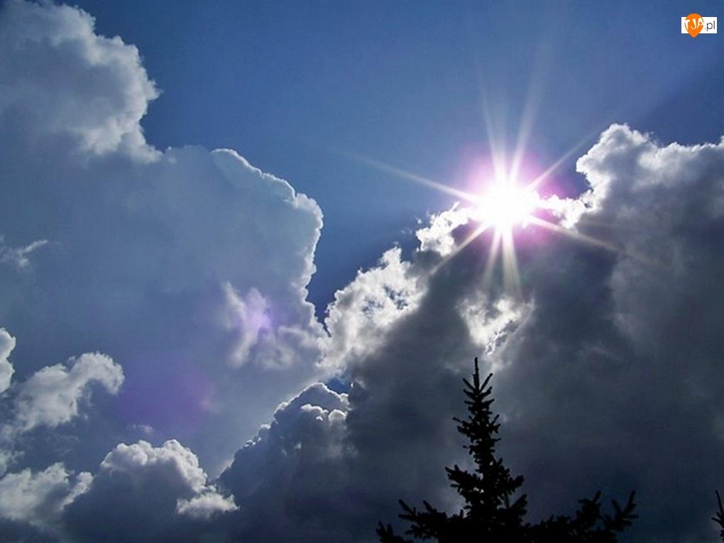 Niebo, Słoneczne, Chmury, Promienie