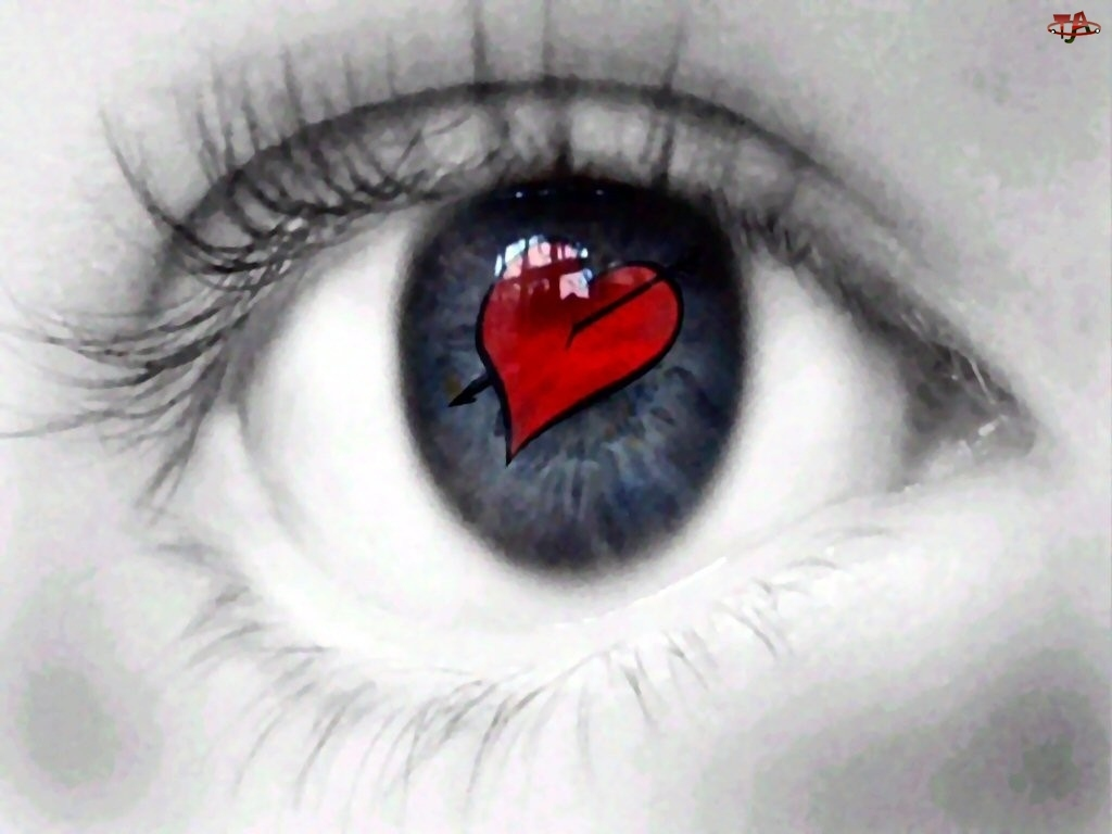 Walentynki, serce w oku