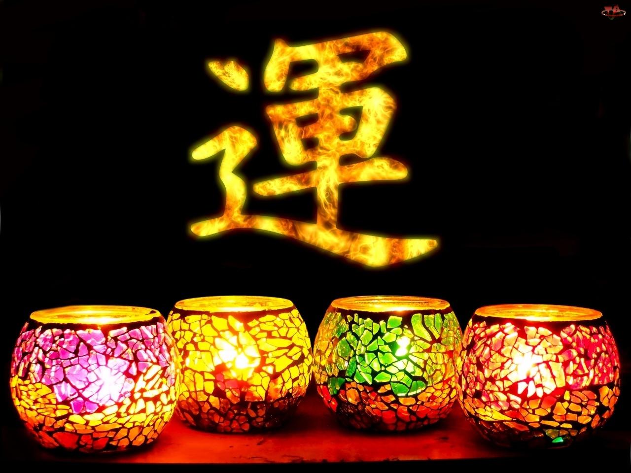 Dekoracja, Świece, Chiński, Znak