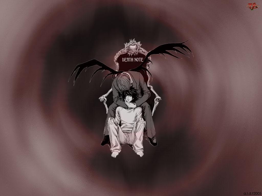 tron, Death Note, chłopak, skrzydła, śmierć