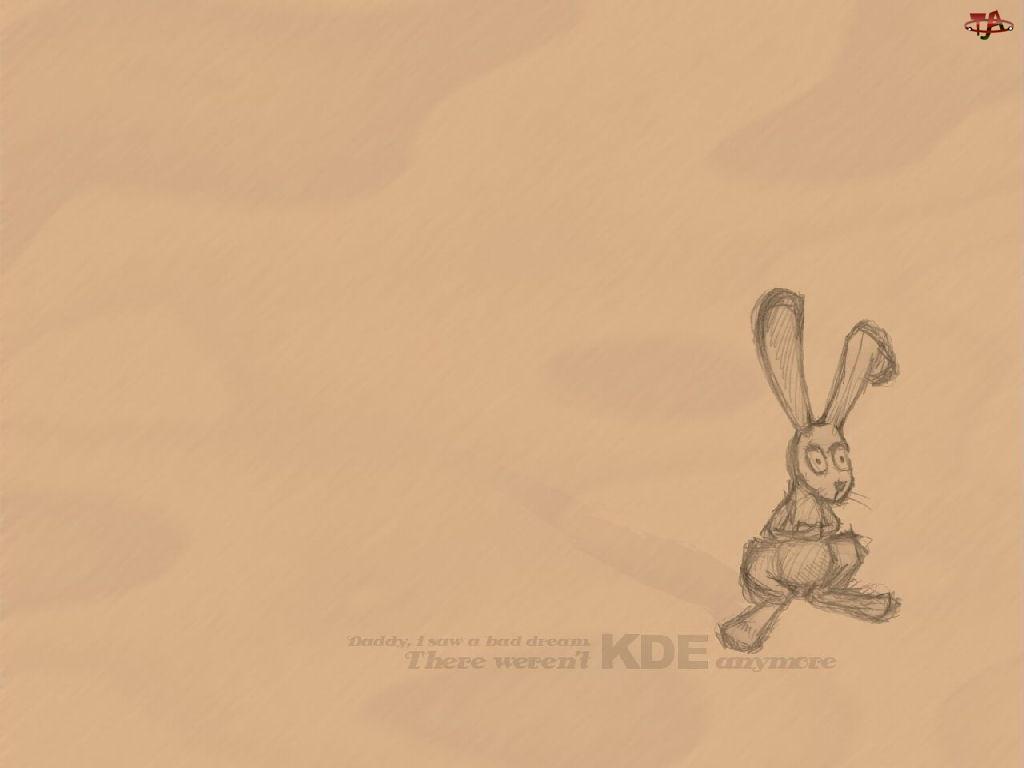Kde, grafika, królik, szkic