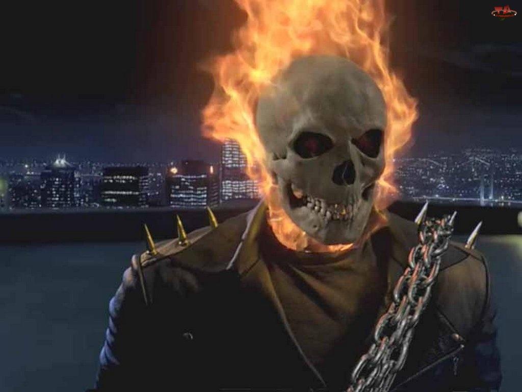 Ghost Rider, wieżowce, czaszka, ogień