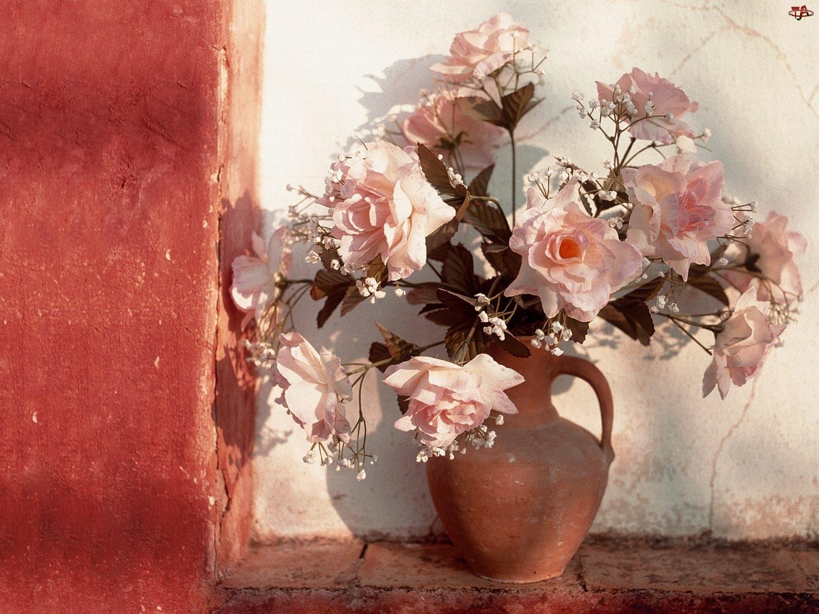 Wazon, Bukiet, Róż