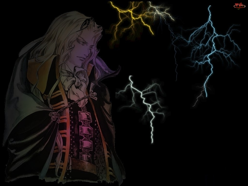 piorun, szata, Castlevania, noc, burza, postać
