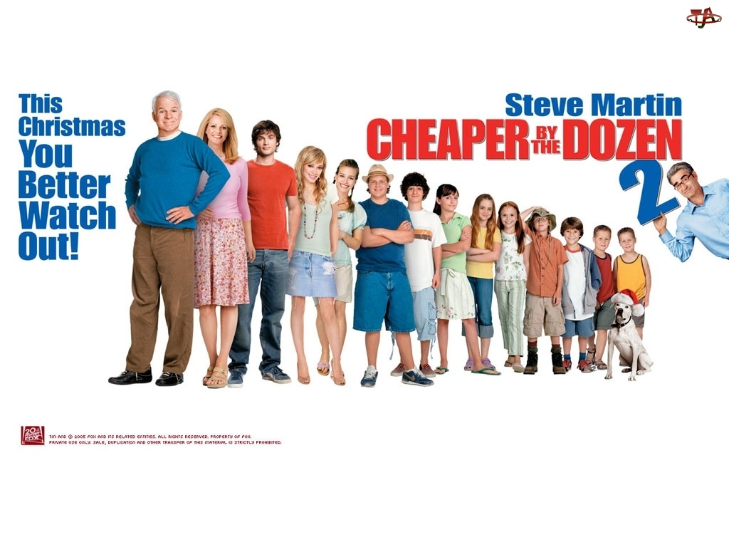 Steve Martin, Cheaper By The Dozen 2, Tom Welling, dzieci, Bonnie Hunt, Piper Perabo