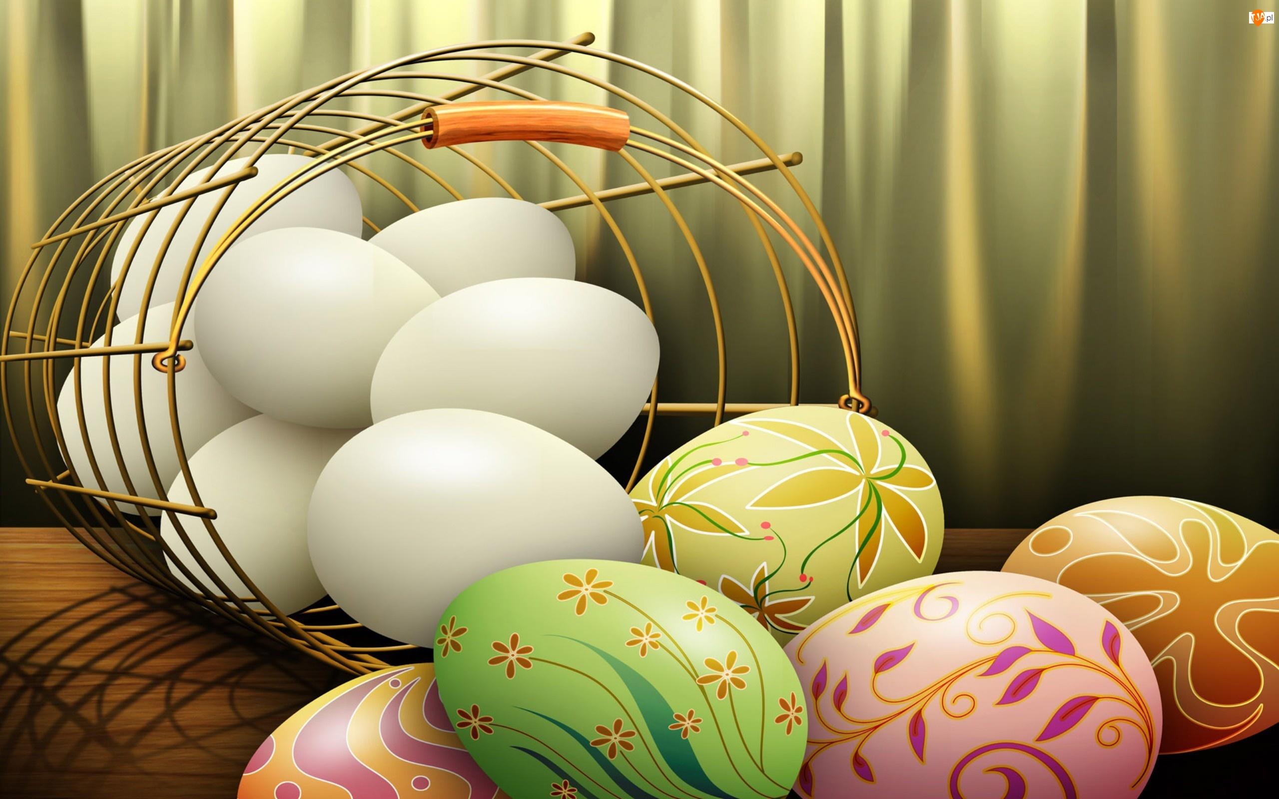 Koszyk, Pisanki, Jajka, Kolorowe