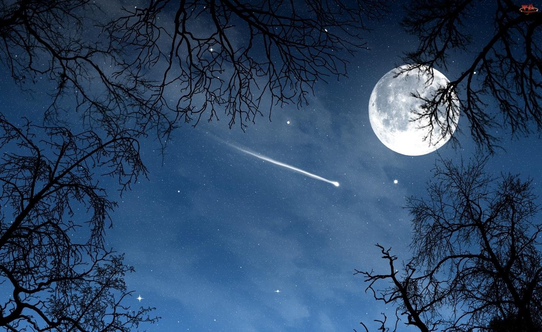 Kometa, Księżyc, Noc