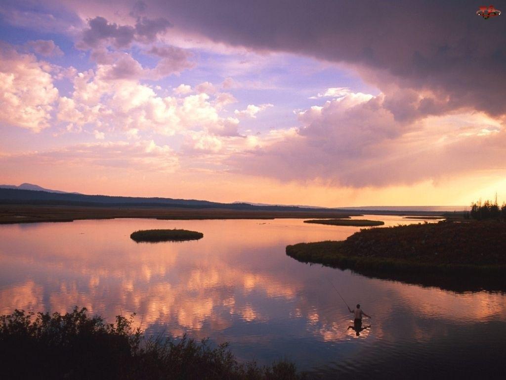 Wędkowanie, Chmura, Jezioro, Niebo
