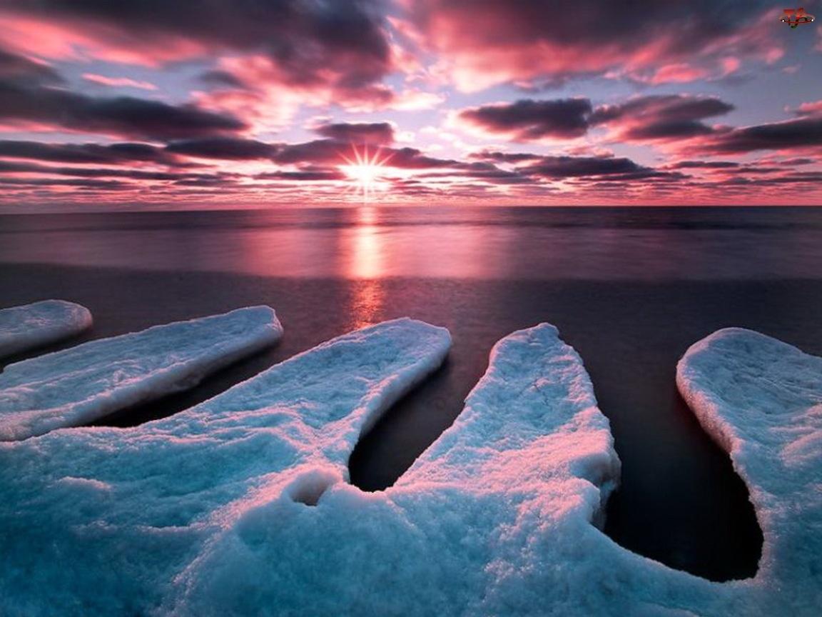 Zachód, Lód, Słońca, Morze