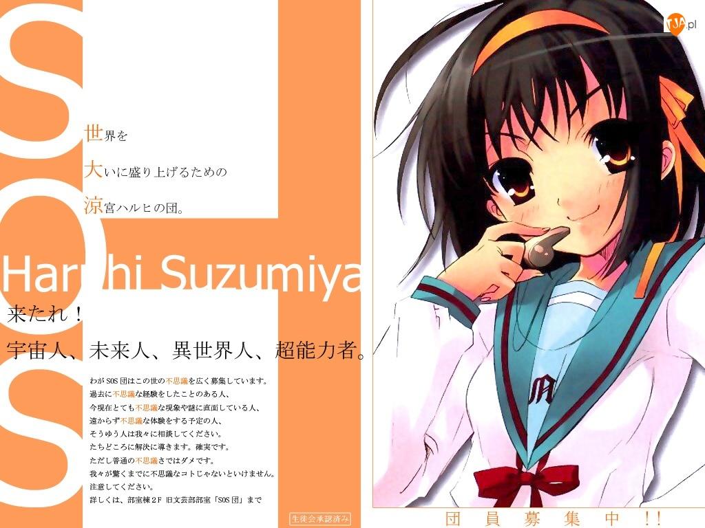 gwizdek, Suzumiya Haruhi No Yuuutsu, czarne wlosy
