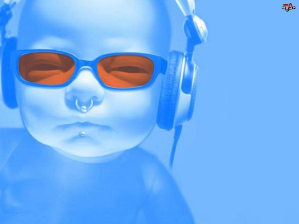 Dziecko, Słuchawki, Pomarańczowe, Okulary