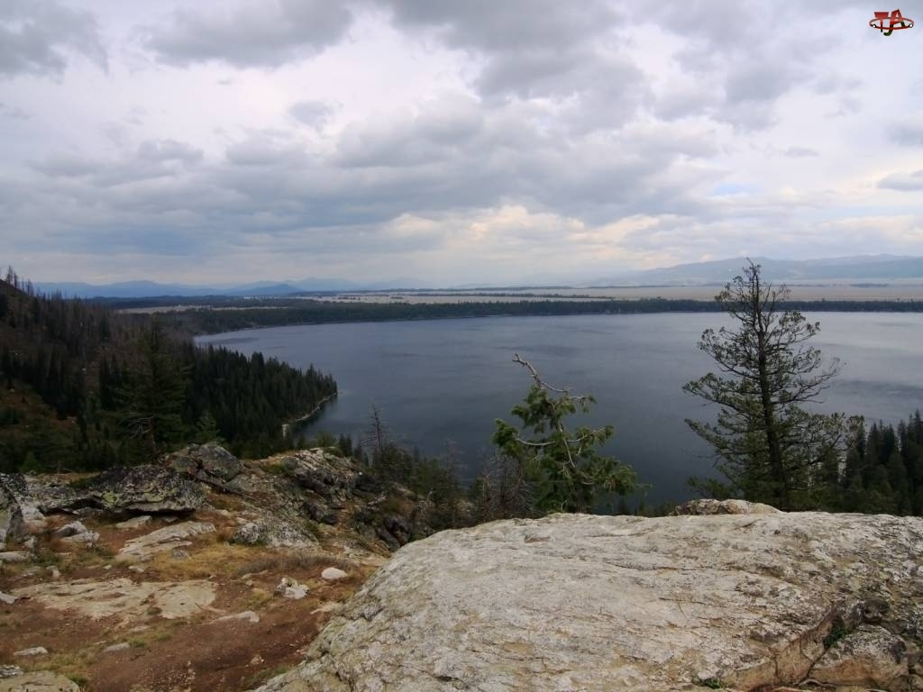 Jezioro, Drzewa, Skaliste, Wzniesienia