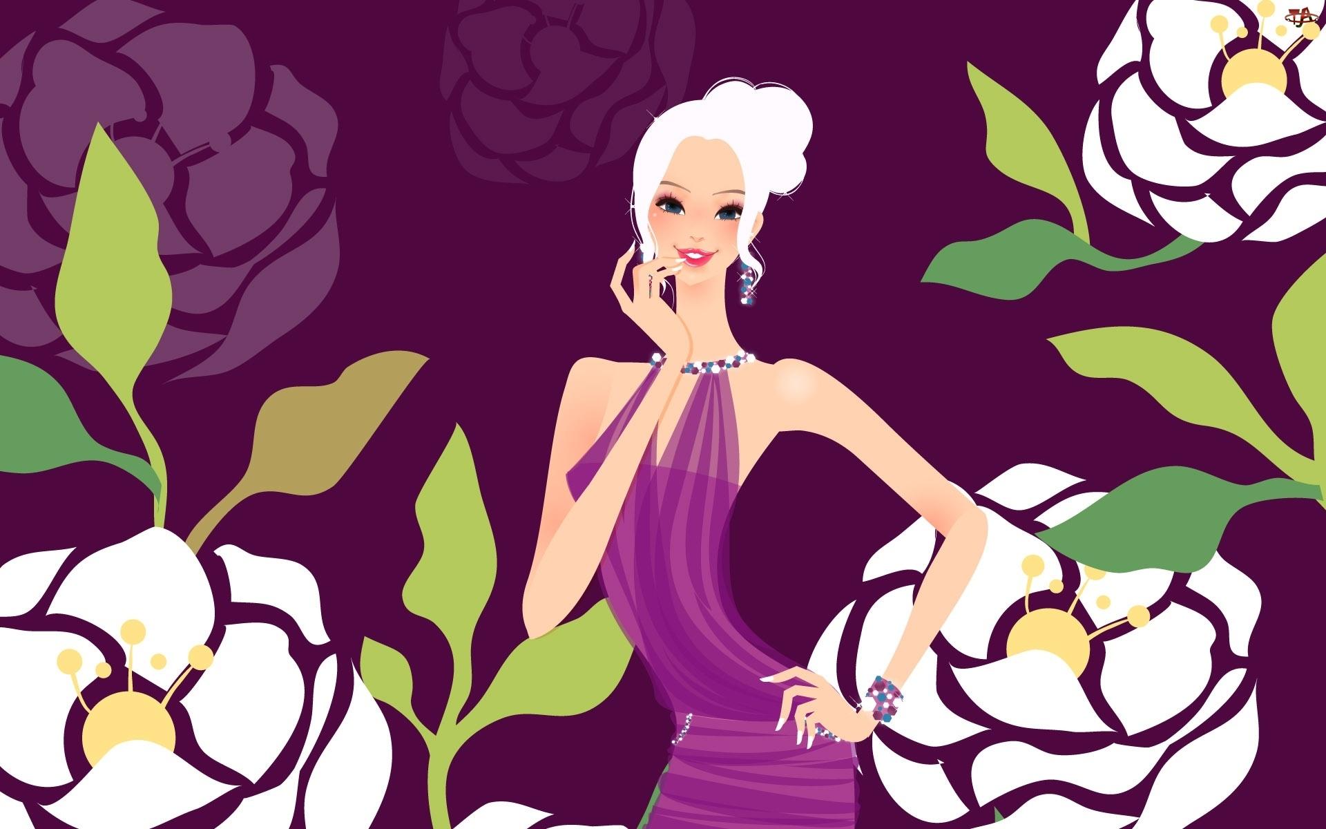 Sukienka, Kolorowe, Kobieta, Kwiatki, Fioletowa, Kolczyki