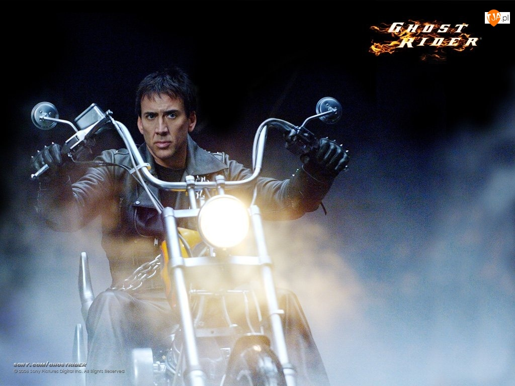 motocykl, Nicolas Cage, dym, Ghost Rider
