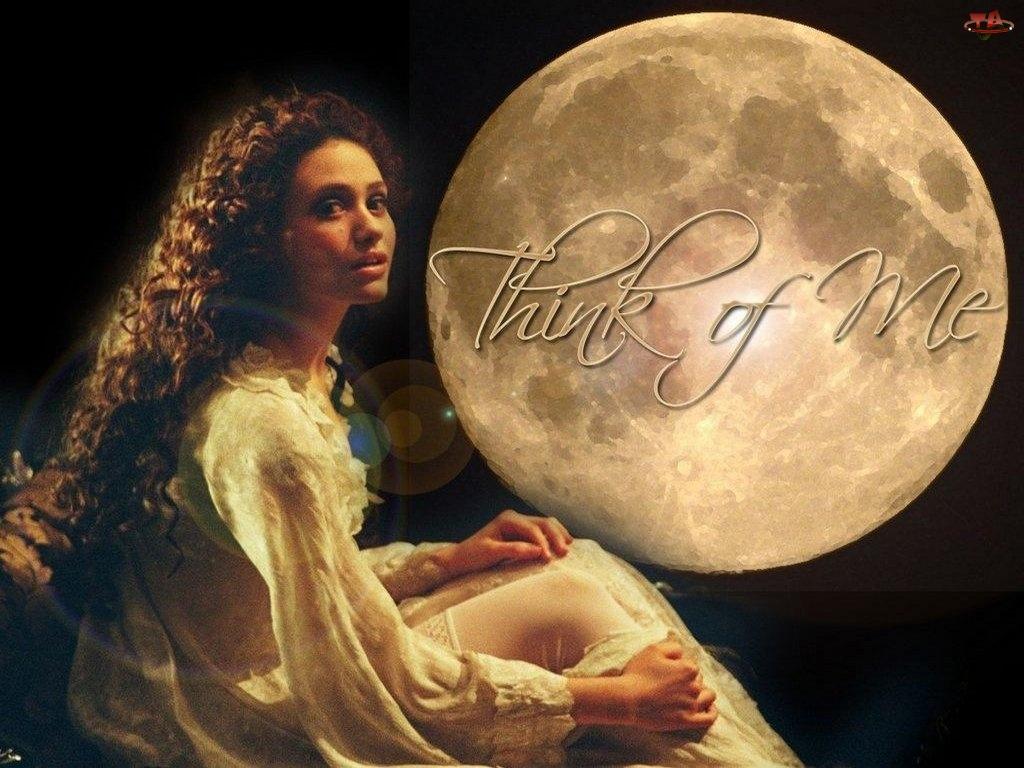 kobieta, Phantom Of The Opera, koszula, księżyc, nocna