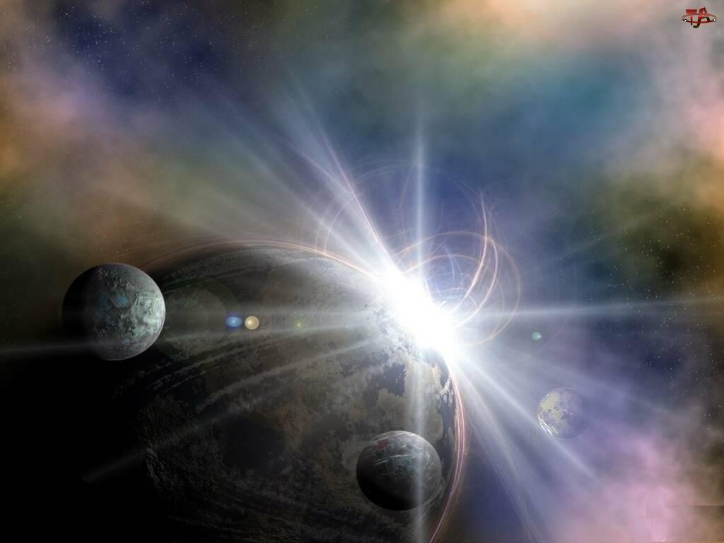 3D, światło, Wektorowa, planety