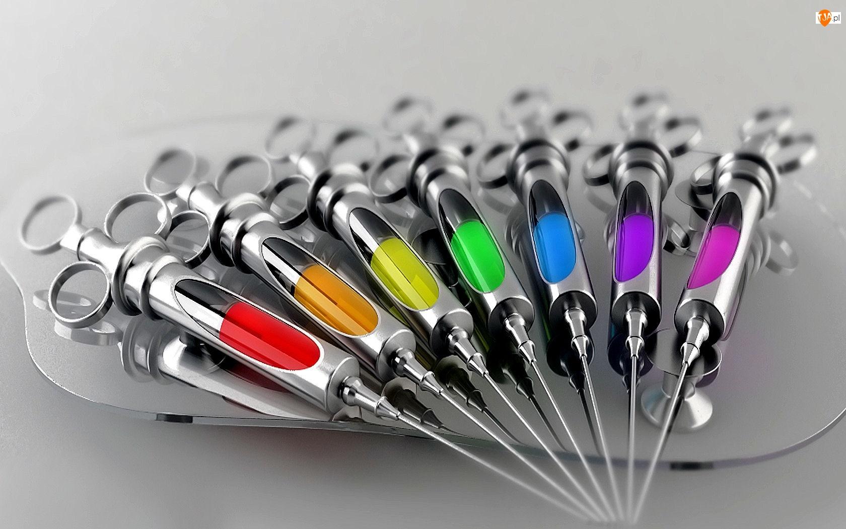 Kolory, Metalowe, Strzykawki