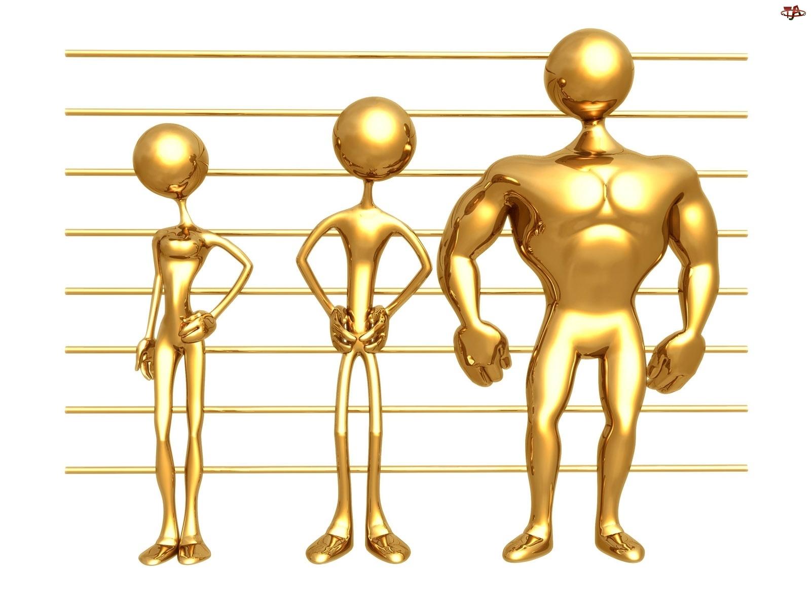 Złote, 3D, Ludziki, Mięśnie