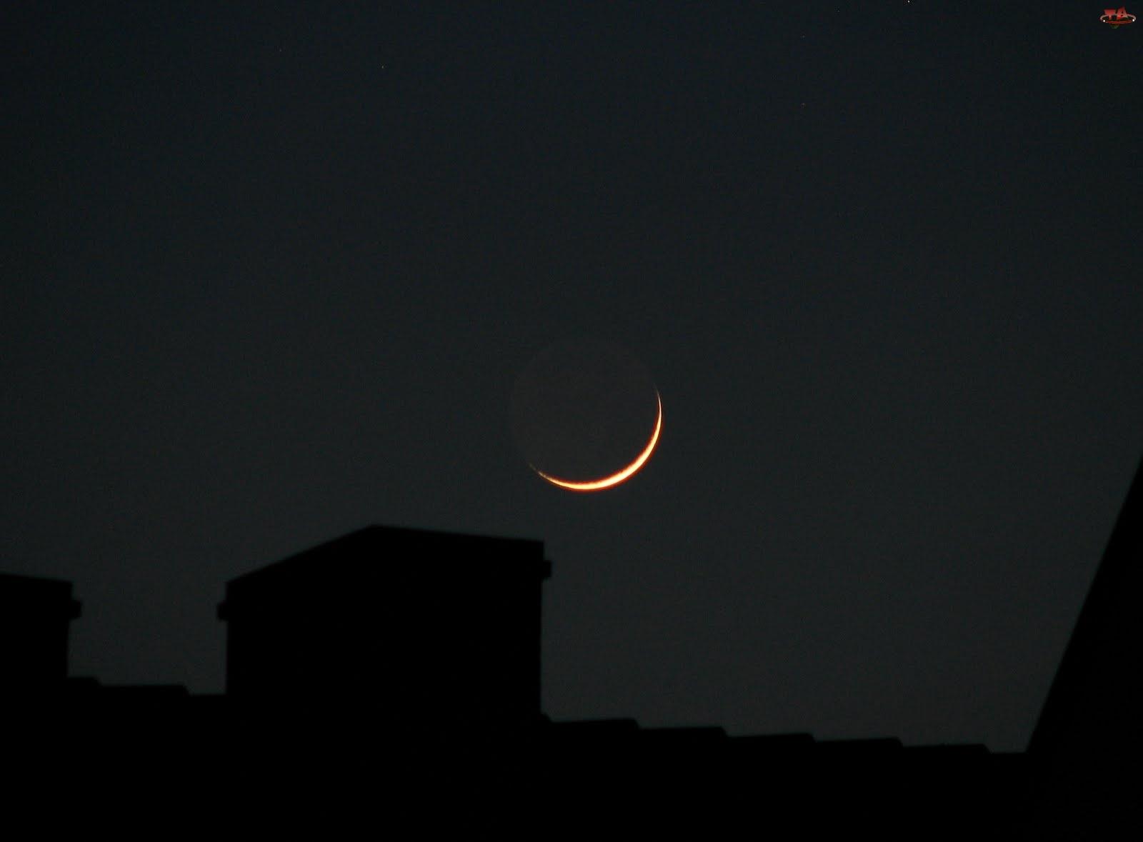 Zaćmienie, Komin, Księżyca, Dach