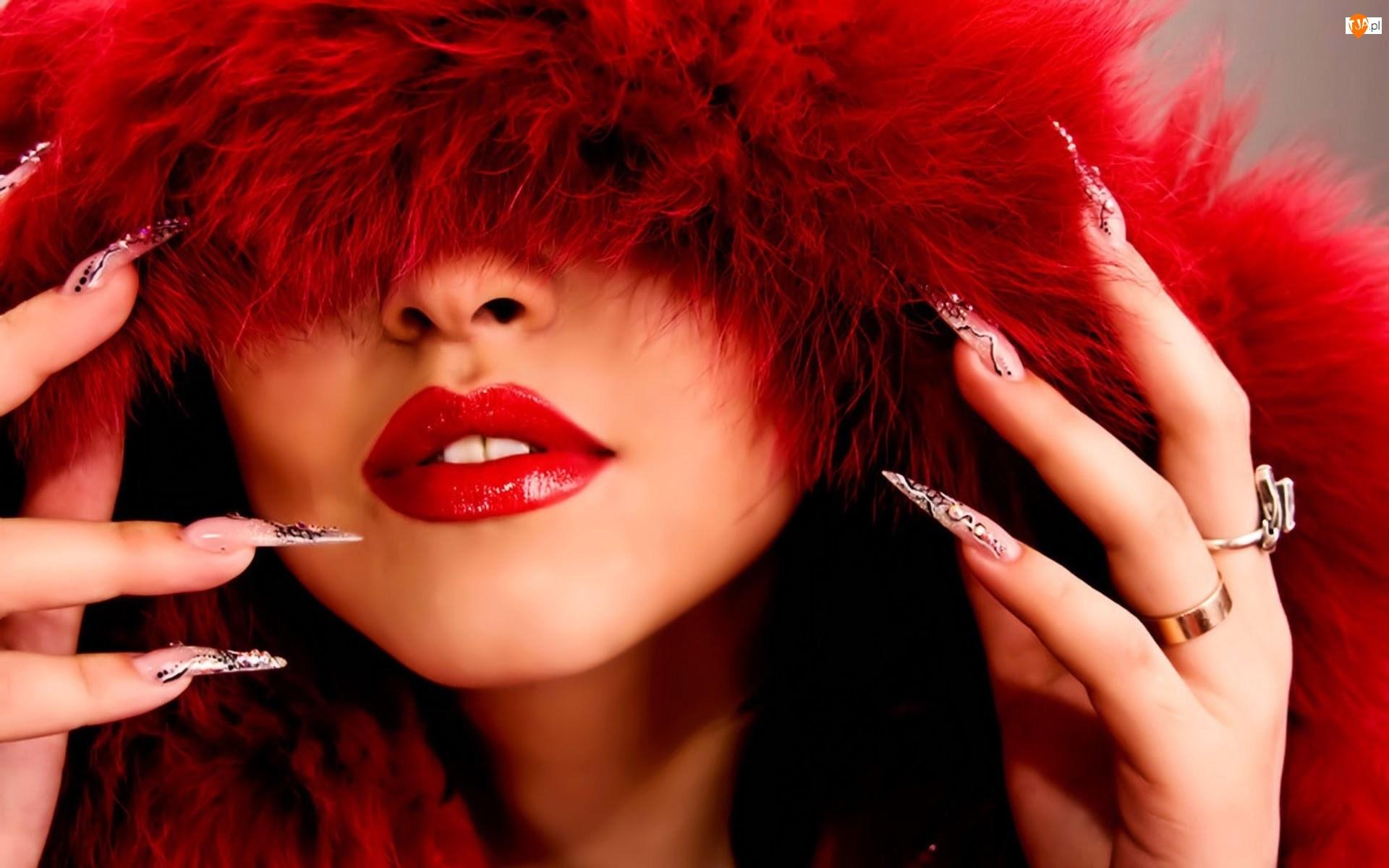 Paznokcie, Kobieta, Włosy, Czerwone, Długie