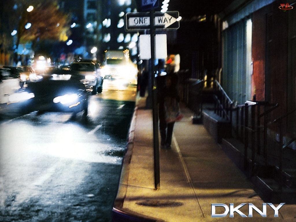 znak, Donna Karan, chodnik, ulica, miasto