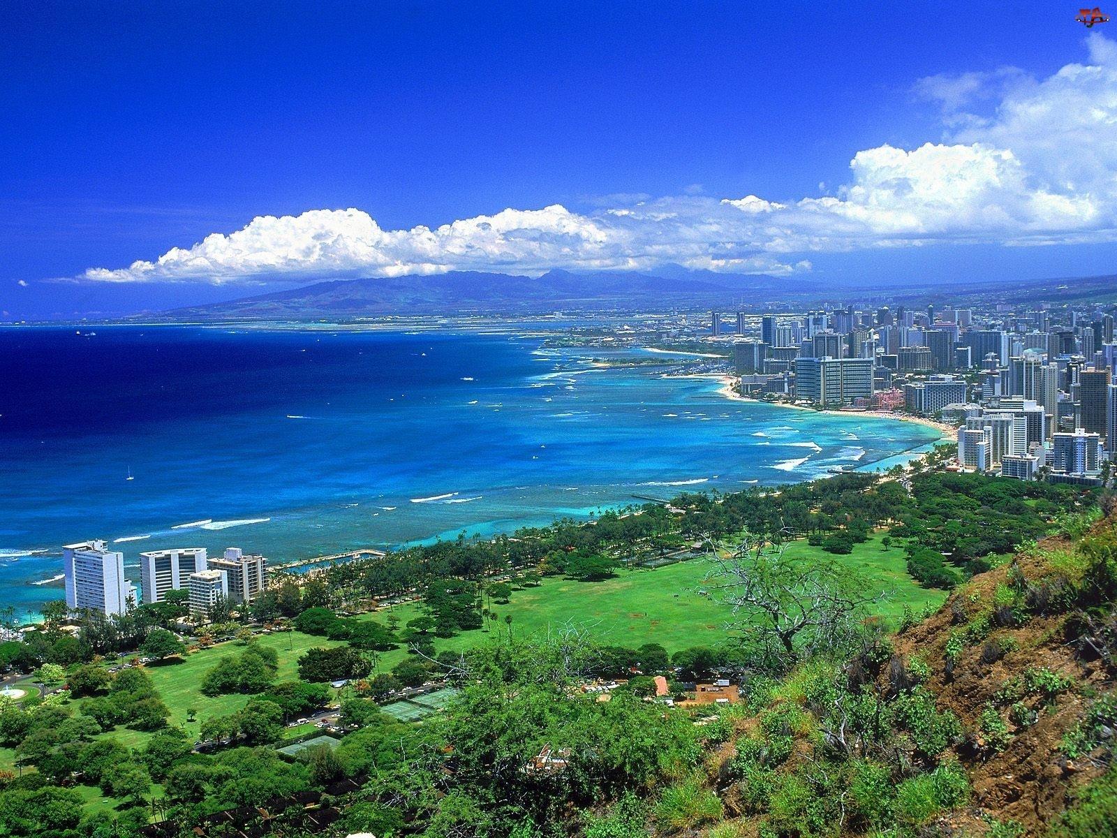 Spokojny, Hawaje, Roślinność, Zielona, Ocean