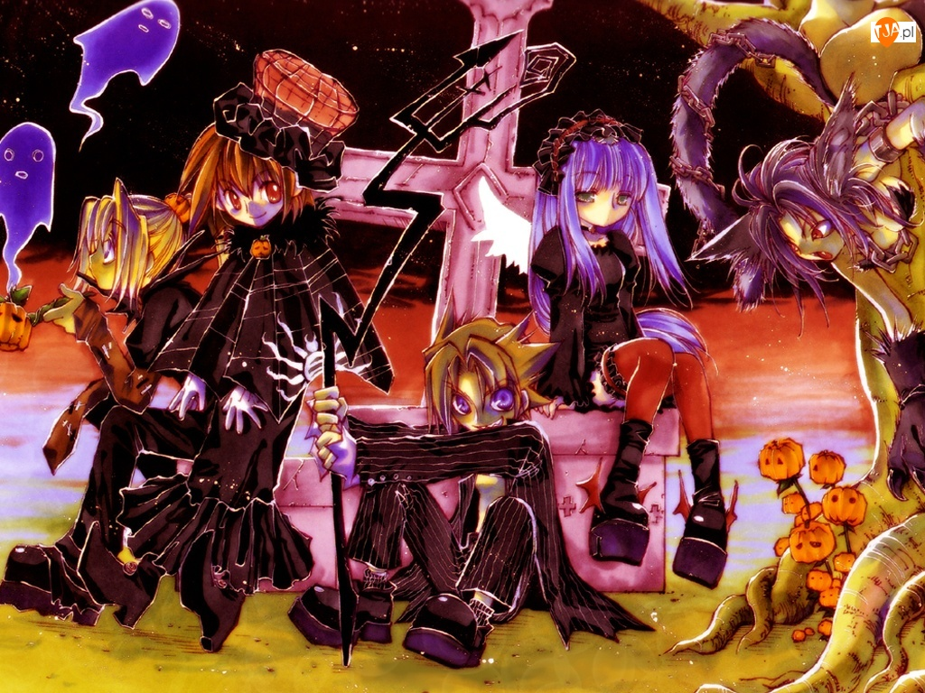 dzieci, duchy, Erementar Gerad, krzyż, haloween, dynie